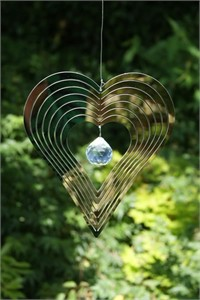 Heart Wind Spinner with Crystal