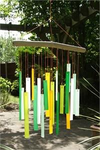 Rectangles Glass Wind Chime, Birchwood
