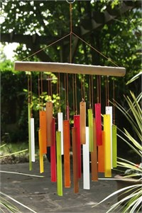 Rectangles Glass Wind Chime, Beechwood